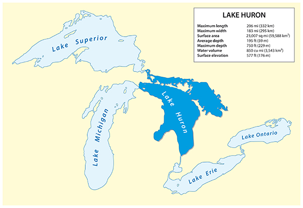 Lake Huron Highlighted Map