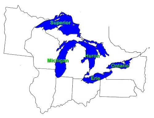 great lakes map with names Great Lakes Facts Eek Wisconsin great lakes map with names
