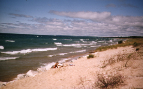 Sandy beach with waves on Lake Michigan's north shore