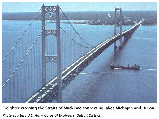 Freighter crossing of Straits of Mackinac connecting lakes Michigan and Huron. Photo courtesy U.S. Army Corps of Engineers, Detroit District